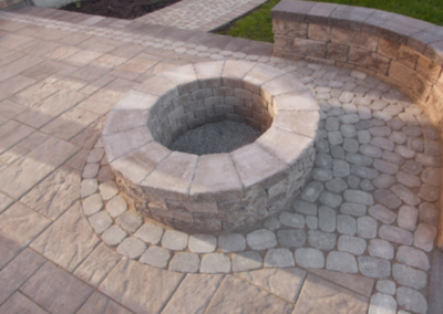 Elcon Contracting Stone Patio & Firepit with inlays